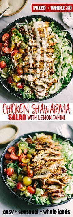 Chicken Shawarma Salad with Tahini Dressing images