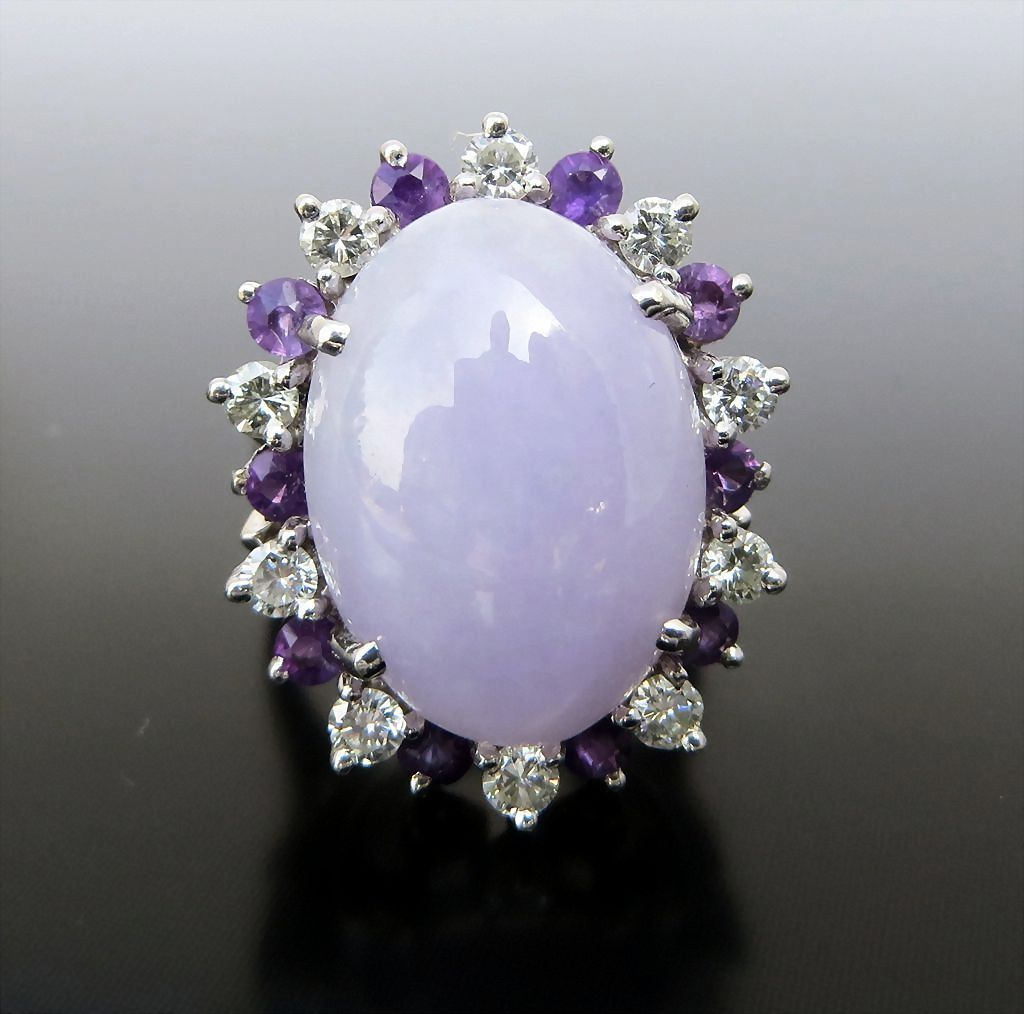 Western Style Silver and Purple Jade Ring Size 7