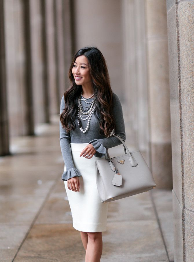 1fc72de56a3 classic work outfit how to wear white pencil skirt extra petite