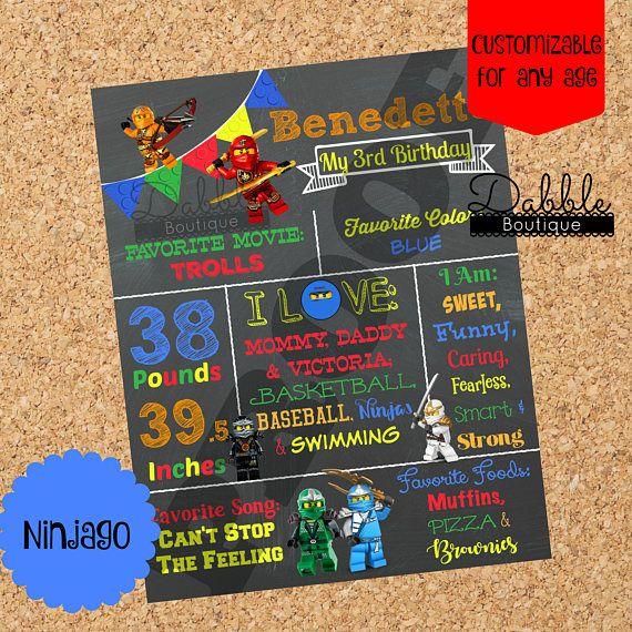 Ninjago Birthday Stat Chalkboard / Lego Birthday Chalkboard /