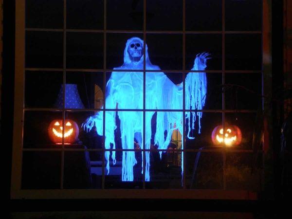 Halloween: Black Light Spooky Skeleton Hanging in Window …