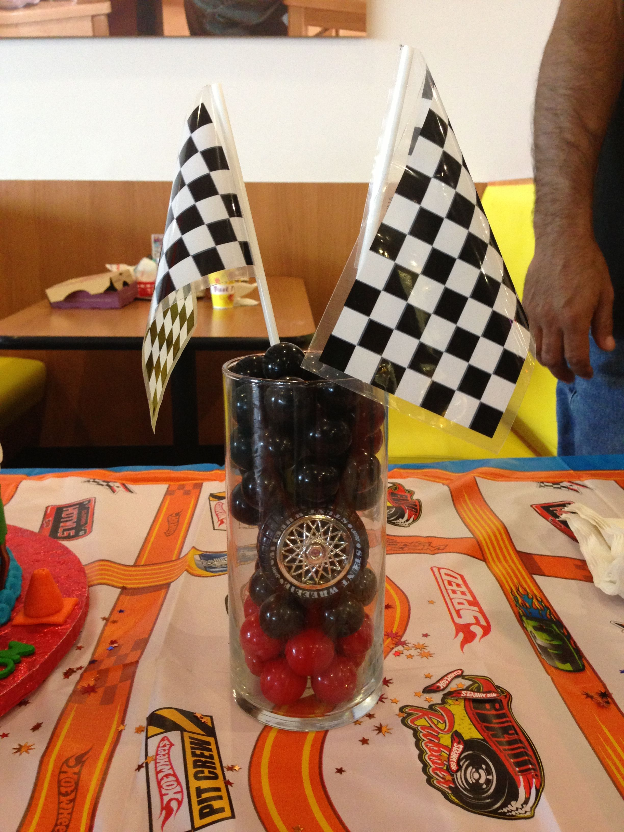 Hot Wheels Party Centerpiece Black And Red Gumballs At Partycity