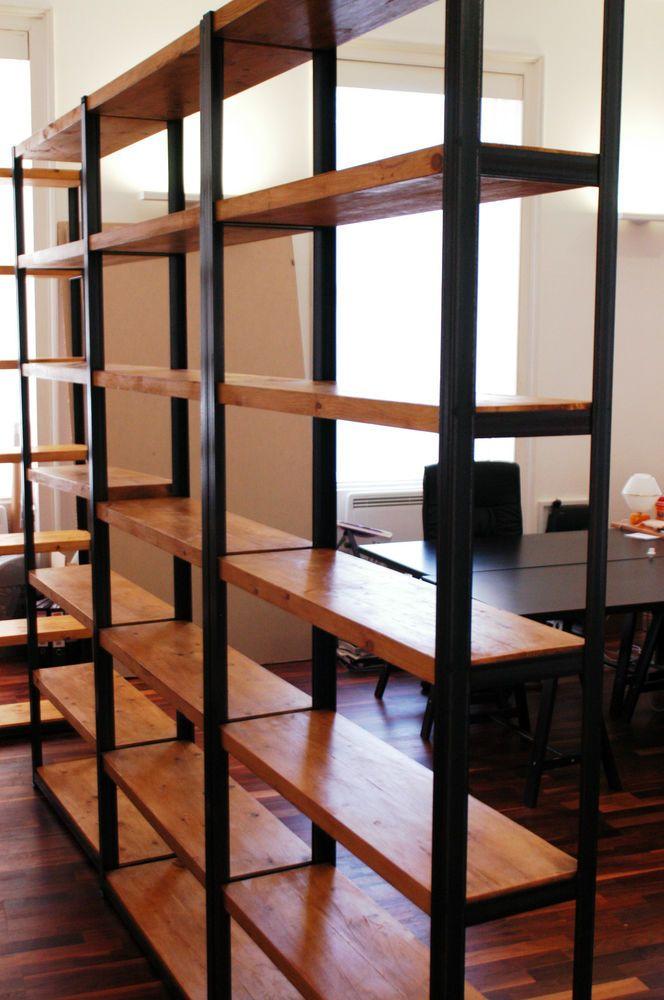 vintage industrial mild steel and rustic timber shelving. Black Bedroom Furniture Sets. Home Design Ideas