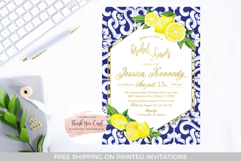 main squeeze invite lemon bridal shower invitation Printable lemon and chinoiserie print bridal shower citrus bridal shower invite
