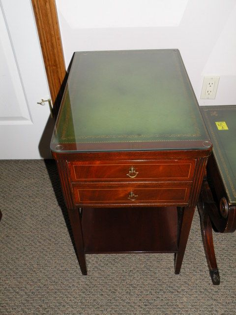 Antique leather top end table httpzaboutcomwexperts