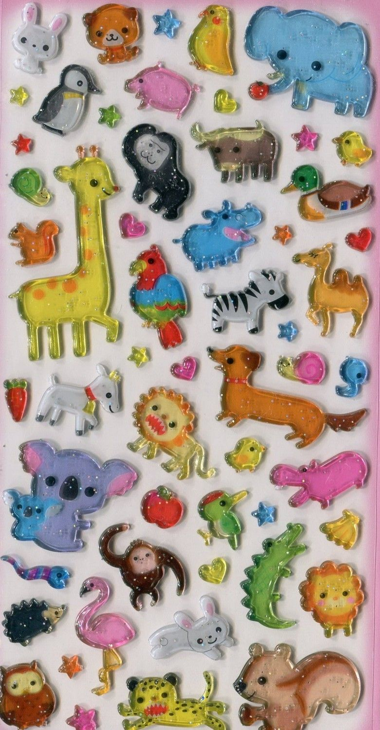 Sparkly Japanese critter stickers