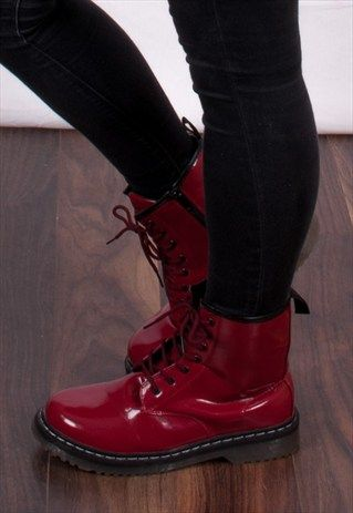 90's+Style+New+Red+Patent+Doc+Boots