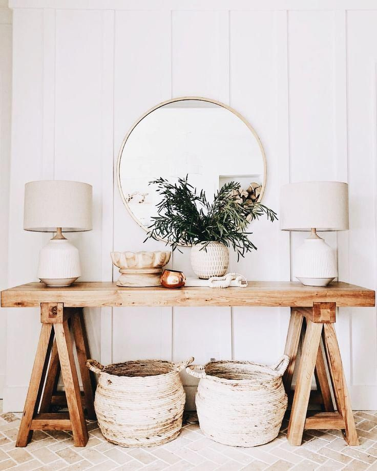 Large Round Entryway Table Gold
