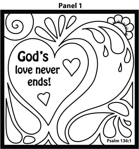 god's love doodle coloring card 12/pk. size 6 x 6  love