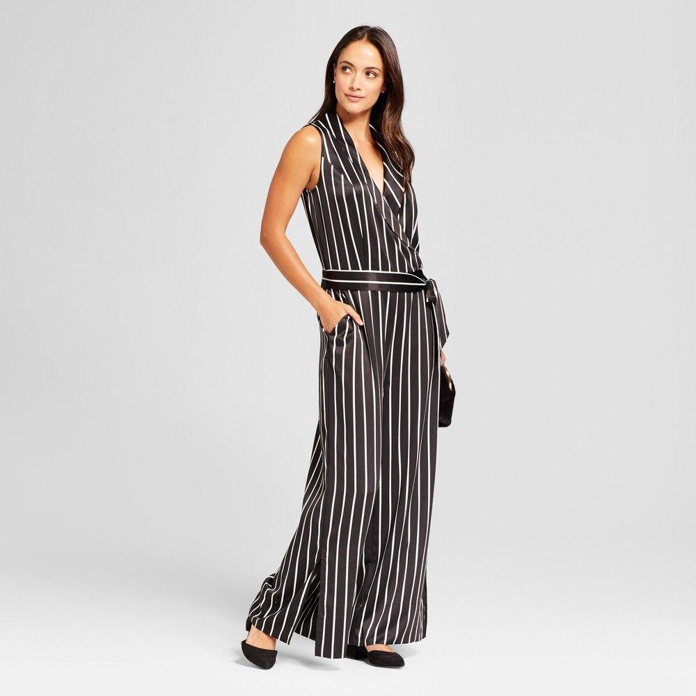 f3489af9de99 Women s Striped Wrap Jumpsuit - A New Day Black White M
