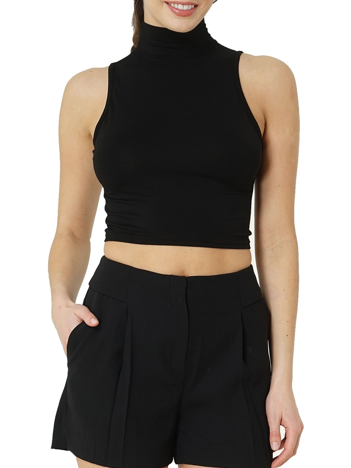 Kefali Crop Top Mandarin Kragen Top Arrow-Ausschnitt Damen Shirt Bauchfrei Top