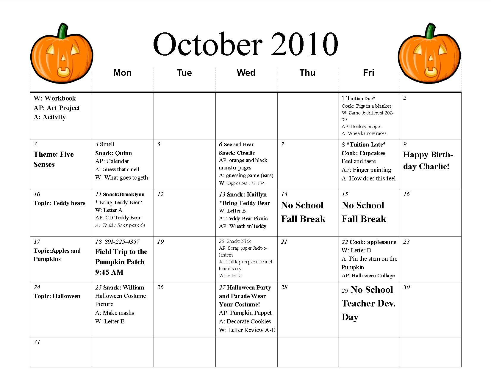 October Preschool Calendar Template