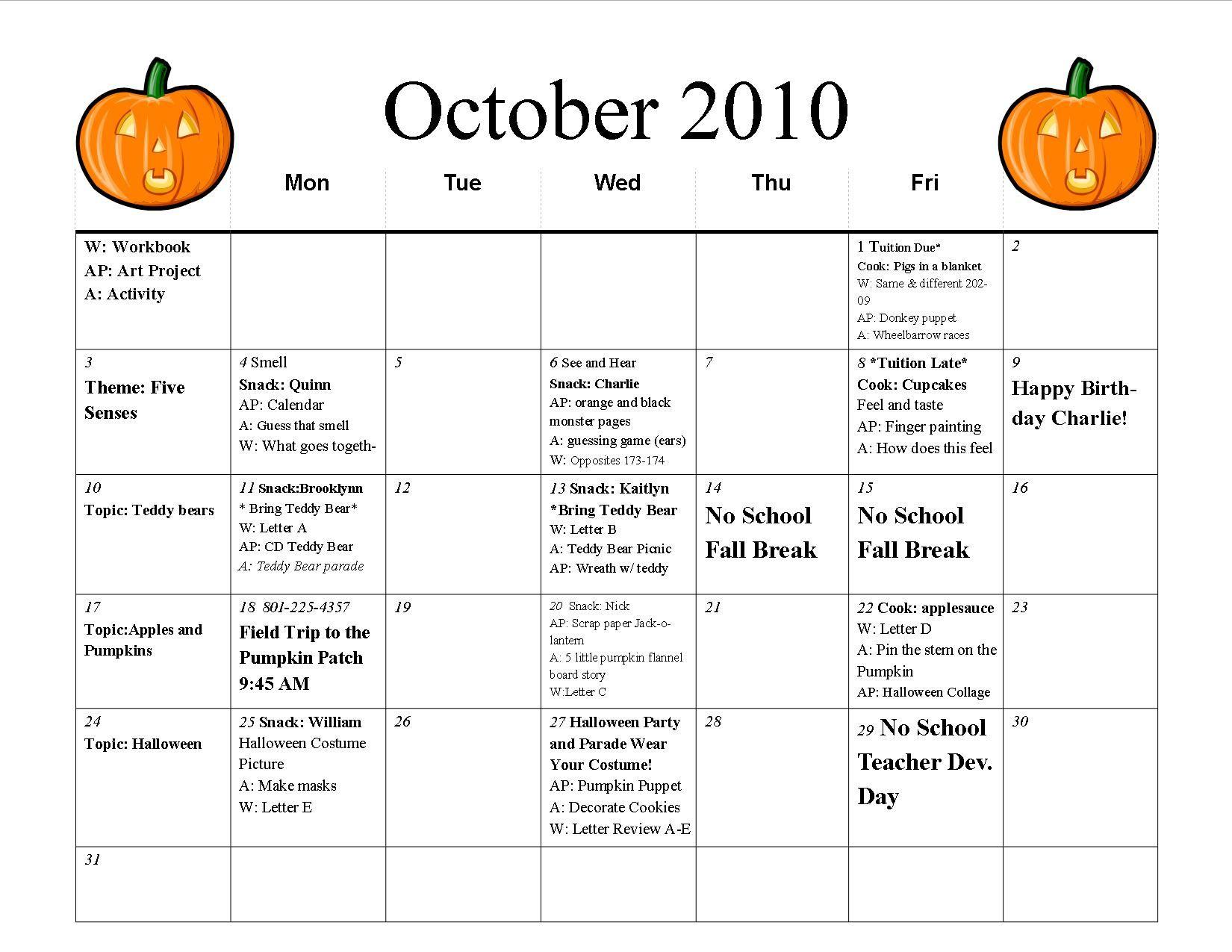 October Preschool Calendar Template