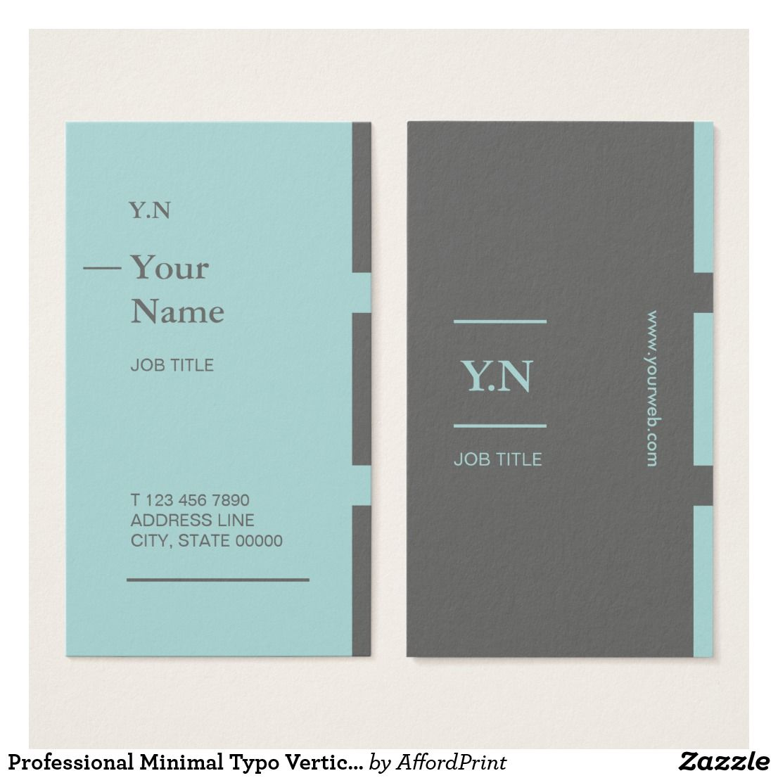 Professional Minimal Typo Vertical Business Card Zazzle Com Vertical Business Cards Personal Planner Business Cards