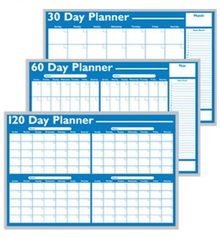 A two-month whiteboard planner shown in three calendar formats