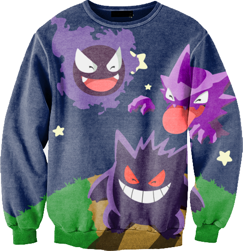 a basso prezzo 653c6 6bdcd This sweater with gastly, haunter, and gengar on it. Or even ...