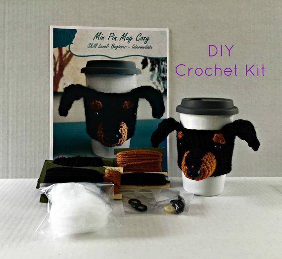 Min Pin Crochet Kit/Dog Crochet Kit/DIY Crochet Kit/Amigurumi Kit/Crochet Pattern/Amigurumi Kit/HookedbyAngel