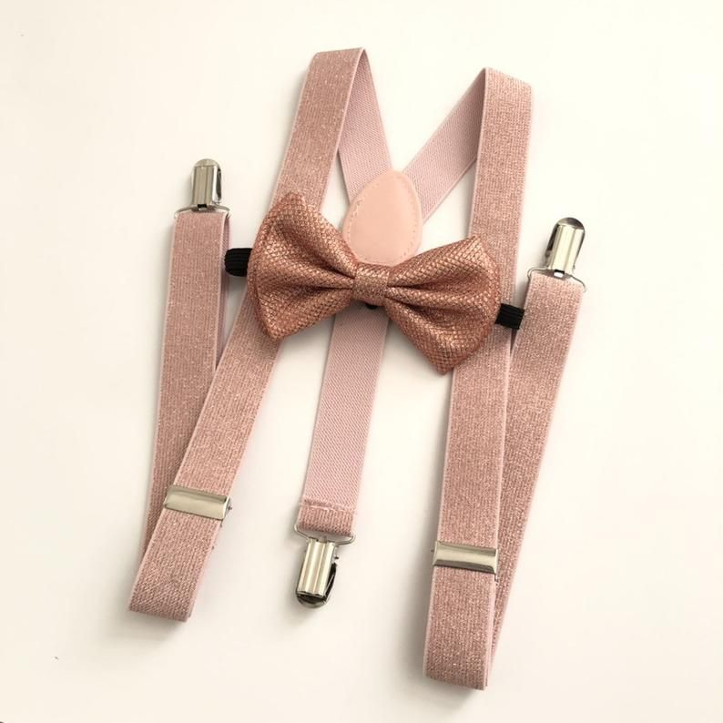 Dark Brown Suspender and Bow Tie Set for Adults Men Women Champagne Gold USA