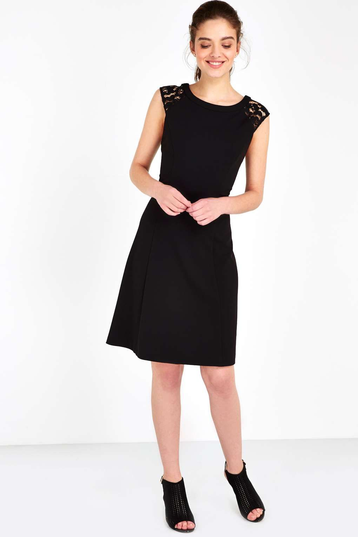 Black lace shoulder fit and flare dress dresses fit