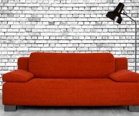 Red Sofa With White Brick Wall Hd Picture White Brick Walls Wall Hd Red Sofa