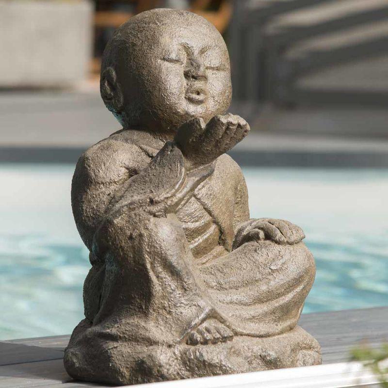 Statue de jardin moine Shaolin heureux patiné brun antique 40 cm – WANDA-COLLECTION