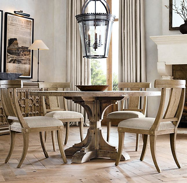 rh's 20th c reclaimed pine trestle round dining tableour