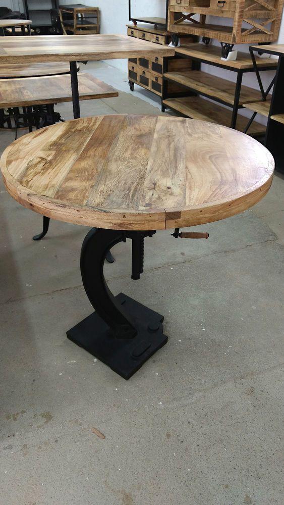 Stehtisch hochtisch bartisch ø 90cm höhenverstellbar industrie massivholz