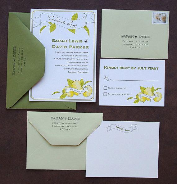 Lemon Wedding Invitation Suite by paperfishdesignsLLC on Etsy - #danishandmadewedding