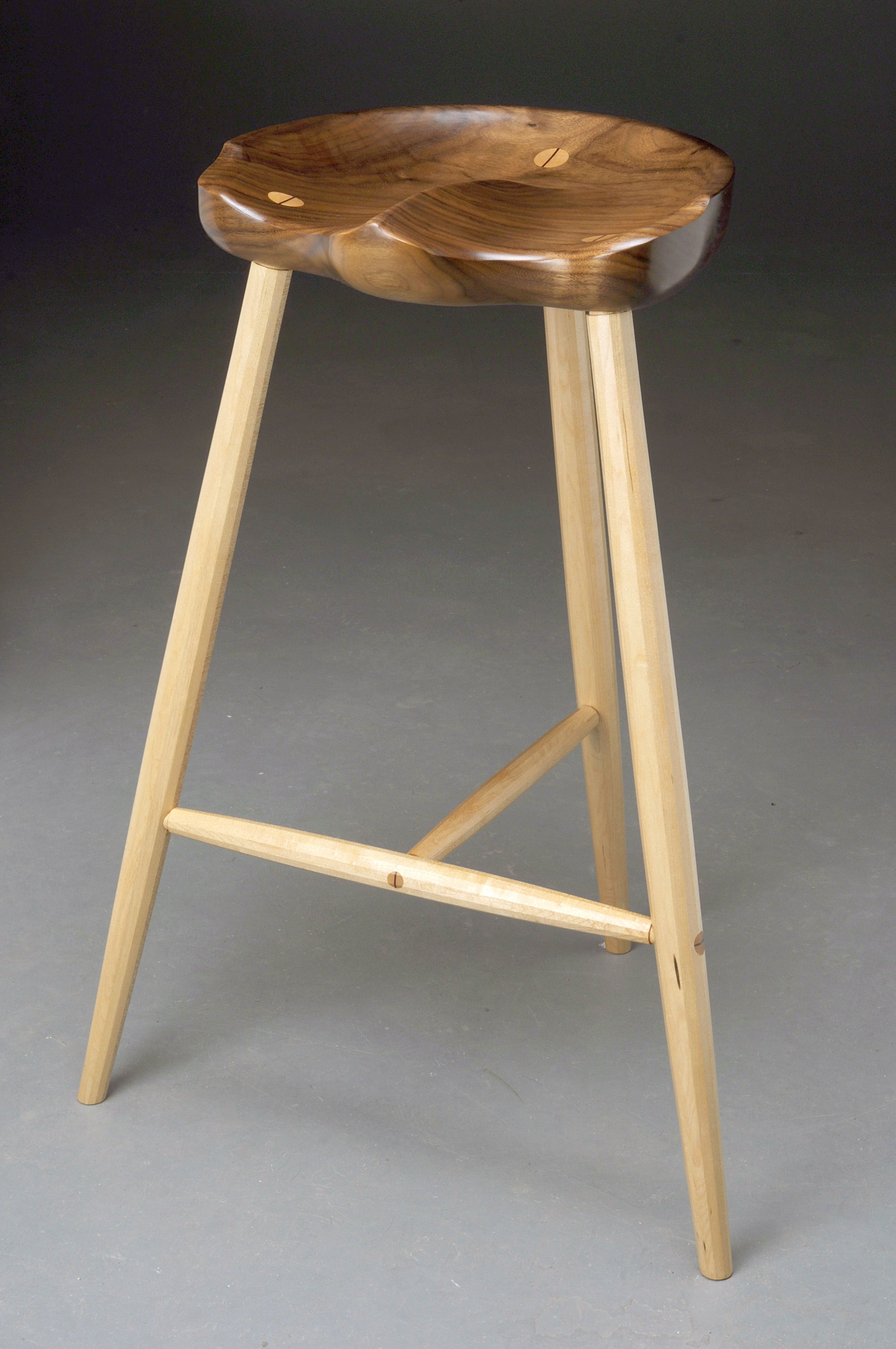 Awesome Three Legged Stool With Faceted Maple Legs And Walnut Onthecornerstone Fun Painted Chair Ideas Images Onthecornerstoneorg