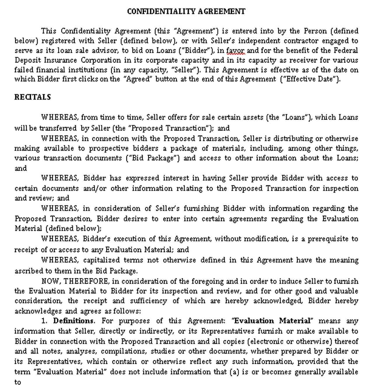 Financial Confidentiality Agreement Template In 2020 Financial Federal Deposit Insurance Corporation Agreement