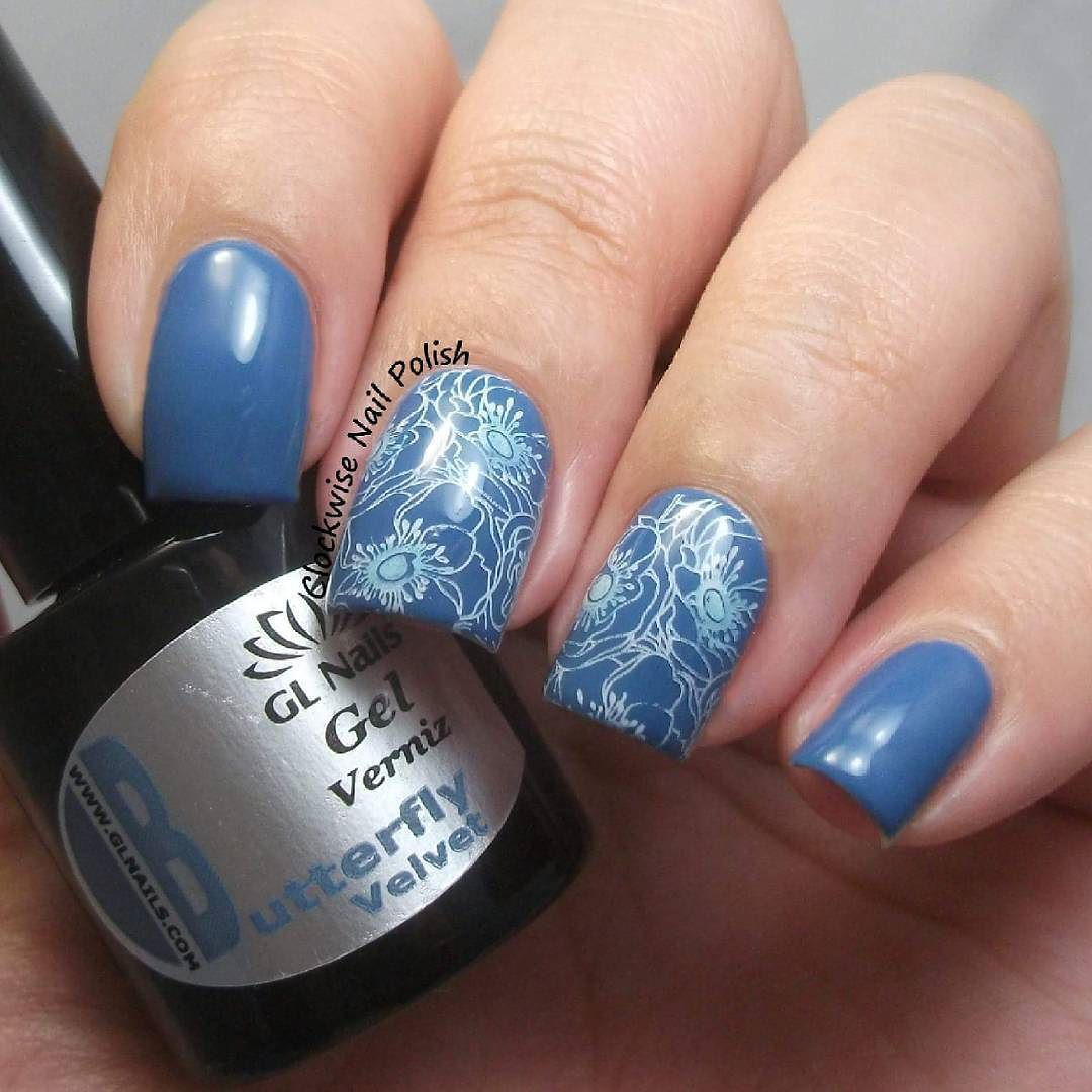 Quick Stamping Nail Art Over Gl Nails Velvet Gelpolish In Blue Shades I Picked The Flower Pattern From Bundlemonster Xl 209 Collaboration With