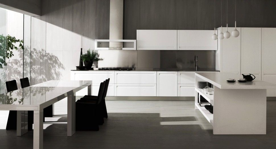 Kitchenshiny italian kitchen ged cucine space floor black chair bay window sink cabinet countertop