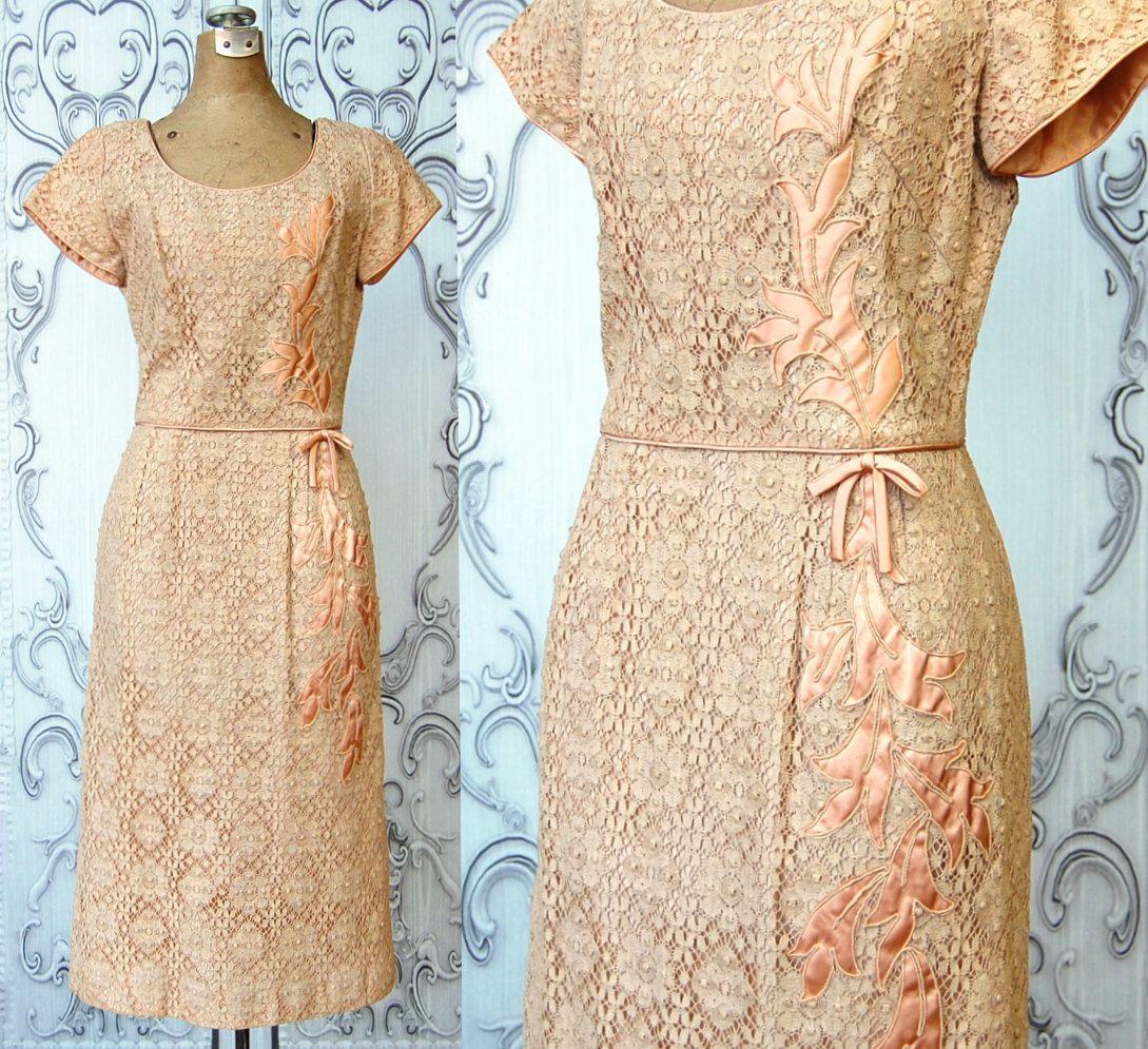 Lace dress 50s  us Vintage Lace Dress  Blush Pink us Pencil Dress  Floral