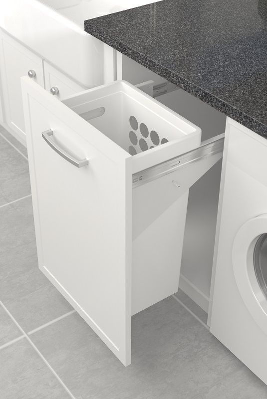 Ideal for wardrobes and bathrooms, the Tanova Simplex laundry pull out for 450mm cabinets requires only 355mm front to back depth for installation. Our plastic hamper is designed with a solid liquid containment bottom to protect cabinets from dripping laundry. It is durable and lightweight with sturdy built in handles for easy carriage between bathroom, wardrobe, laundry and clothesline.