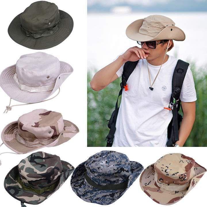Summer Man's Hunting Fishing Outdoor Safari Military Cap Bucket Boonie Sun Hat #Unbrand