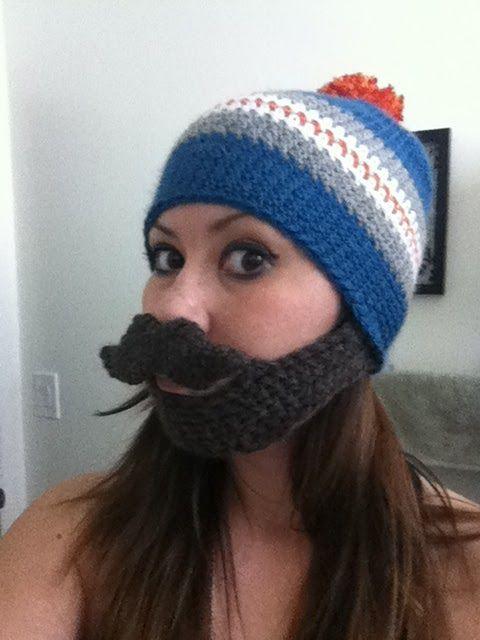 Free Pattern Mustache Bearded Beanie | San Jose Sharks playoff beard ...