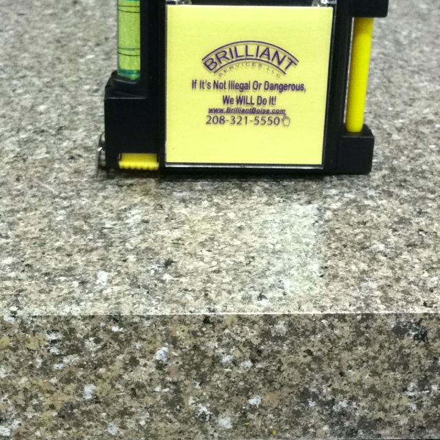 Sprayed on countertop.  Looks just like granite at a fraction of the cost. See it at The Idaho Center today and tomorrow.