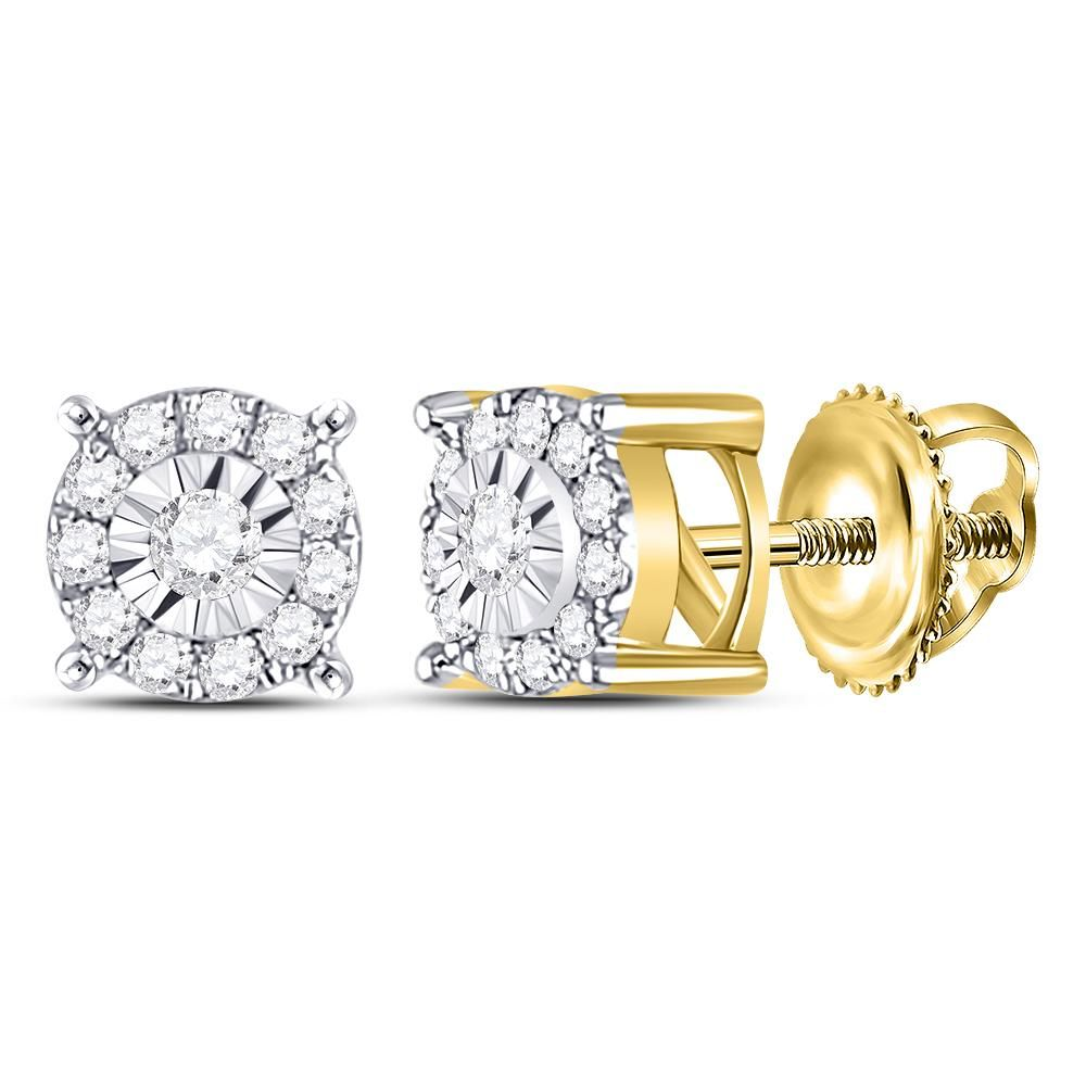 05ce7027af73b 10kt Yellow Gold Womens Round Diamond Circle Frame Solitaire Stud ...