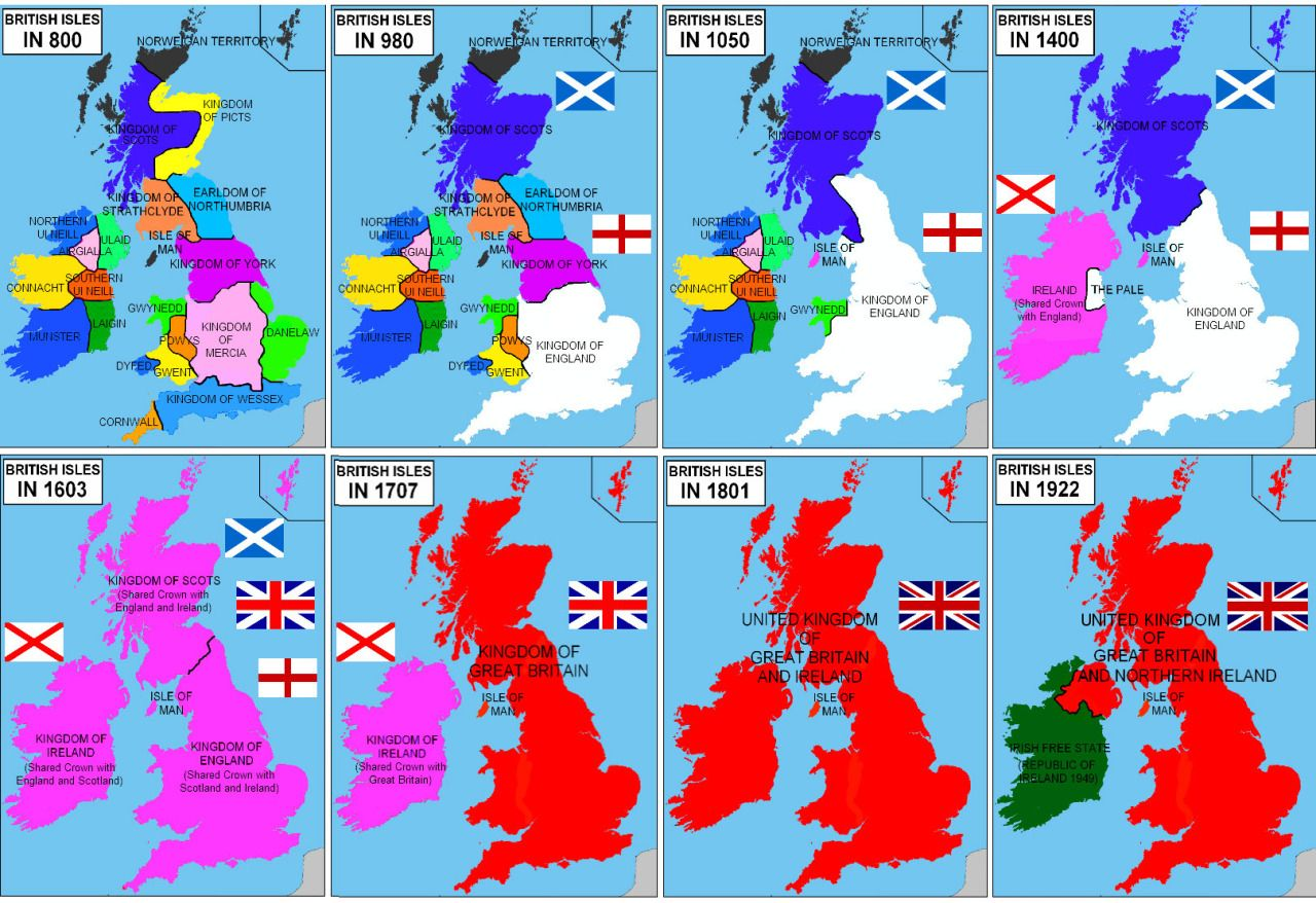 Map Of Uk 500 Ad.The History Of The Uk And Ireland In 8 Maps Historical Maps Map