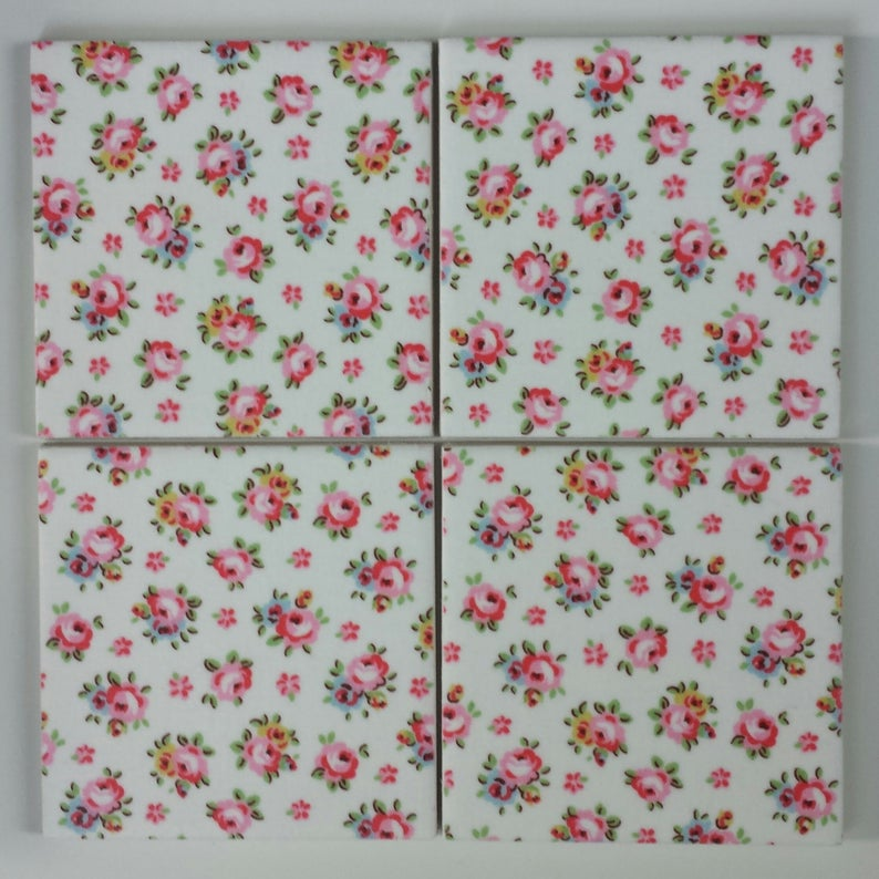 100mm Or 150mm Shabby Chic Ceramic Wall Tiles In Cath Kidston Hampton Rose Ceramic Wall Tiles Shabby Chic Shabby