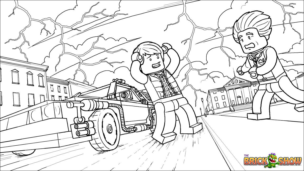 LEGO Back to the Future Coloring Page LEGO LEGO Back to the Future