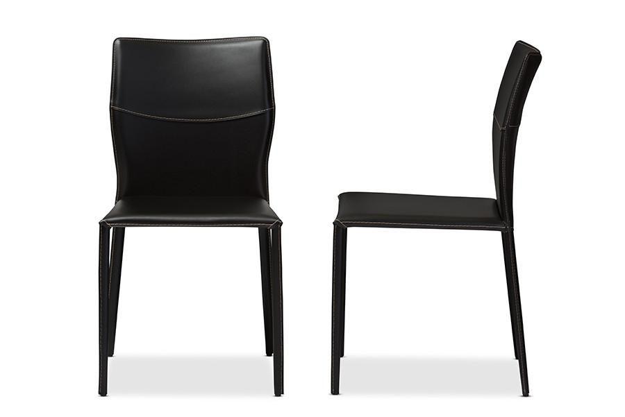 Baxton studio asper modern and contemporary black leather