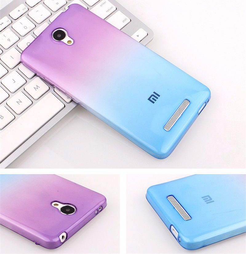 Mode zachte tpu gradiëntkleur cover case voor xiaomi redmi 3 s/3x redmi note 3/note 4/mi3/mi4/mi5/4c/redmi 4/4a/4 pro