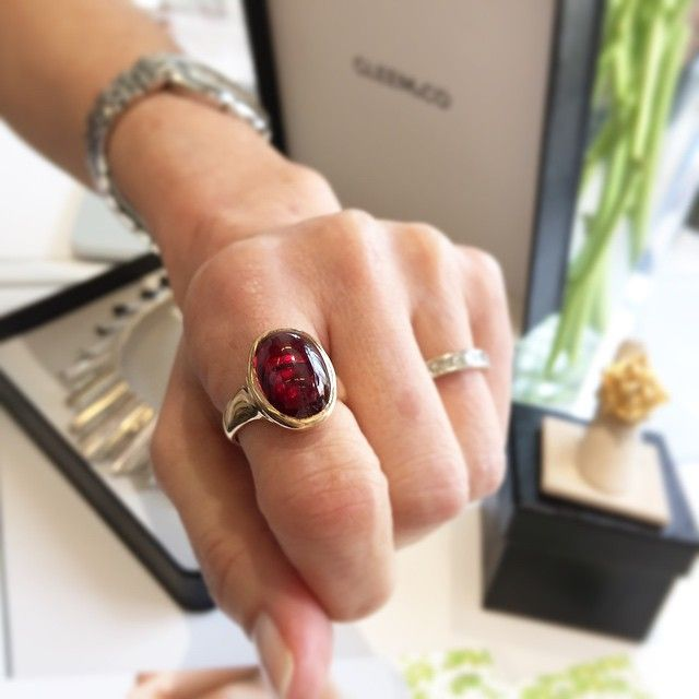 @jclovessocal picked out this 14K Yellow Gold red garnet cabochon ring to try on today at the #FashionTechForum.  Come try on some of our vintage designer gems today at the @eBay startup bar, 5th floor @fashtechforum. #Vintage #Designer #Jewelry #FTF #FTF2015 #FashionTechForum #fashion #technology #conference #springstudios #FTFspeaks #VintageJewelry #DesignerJewelry #FineJewelry #ShowMeYourRings #RingParty