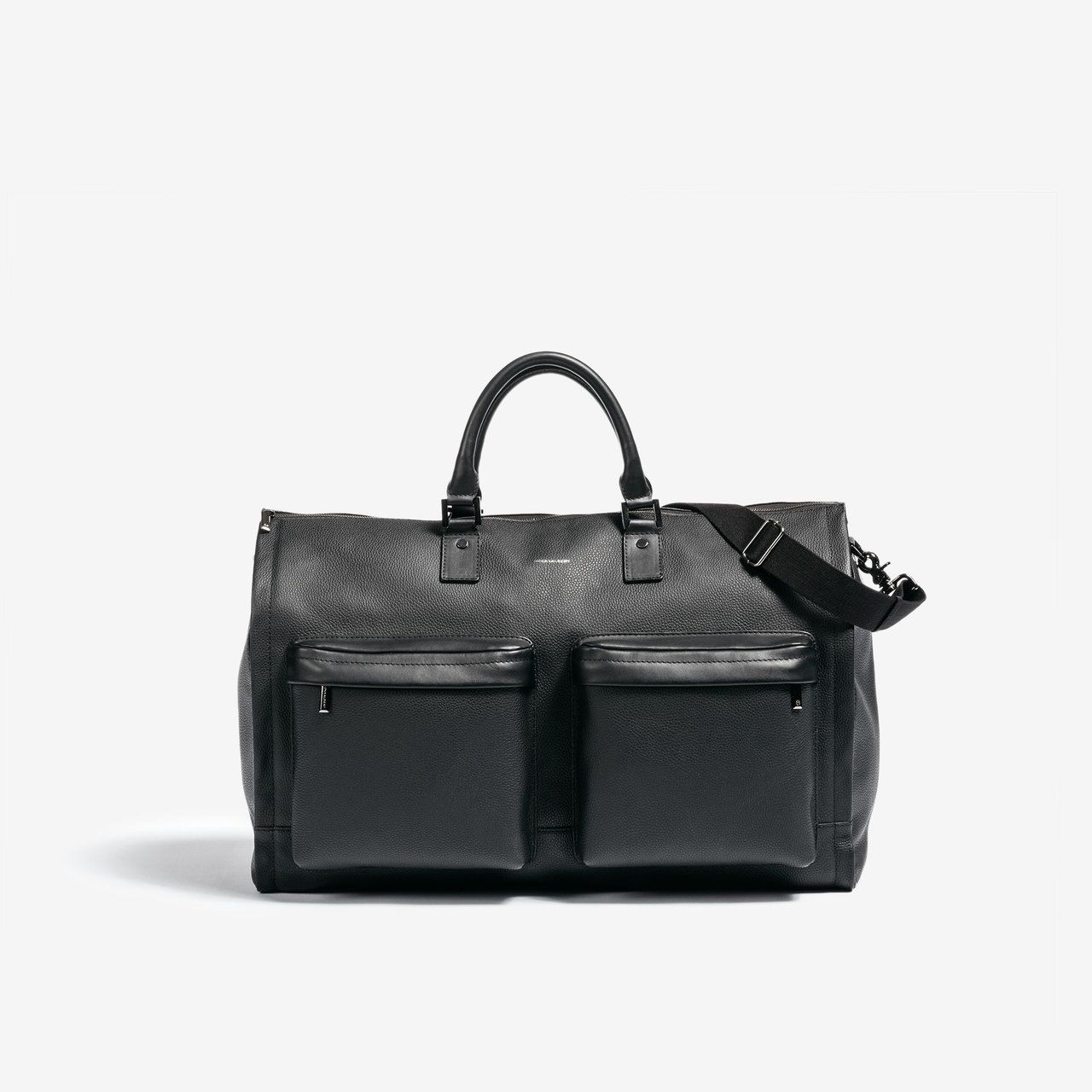 Leather Garment Weekender Bag - Black and Silver - HOOK   ALBERT e2140a098cd64