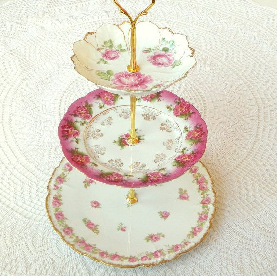 Pink roses 3 tier cupcake tea and macaron stand of vintage china from France u0026 Germany by HighTeaForAlice & Alice Snips 3 Pink Roses Vintage China Tiered Plate Stand w/ Gold ...