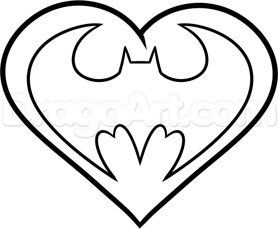 How to draw a batman heart step 5