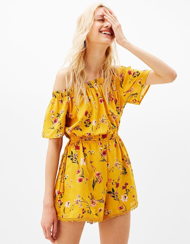 1e179ea07686 Printed off-the-shoulder jumpsuit - Dresses - Bershka Israel ...