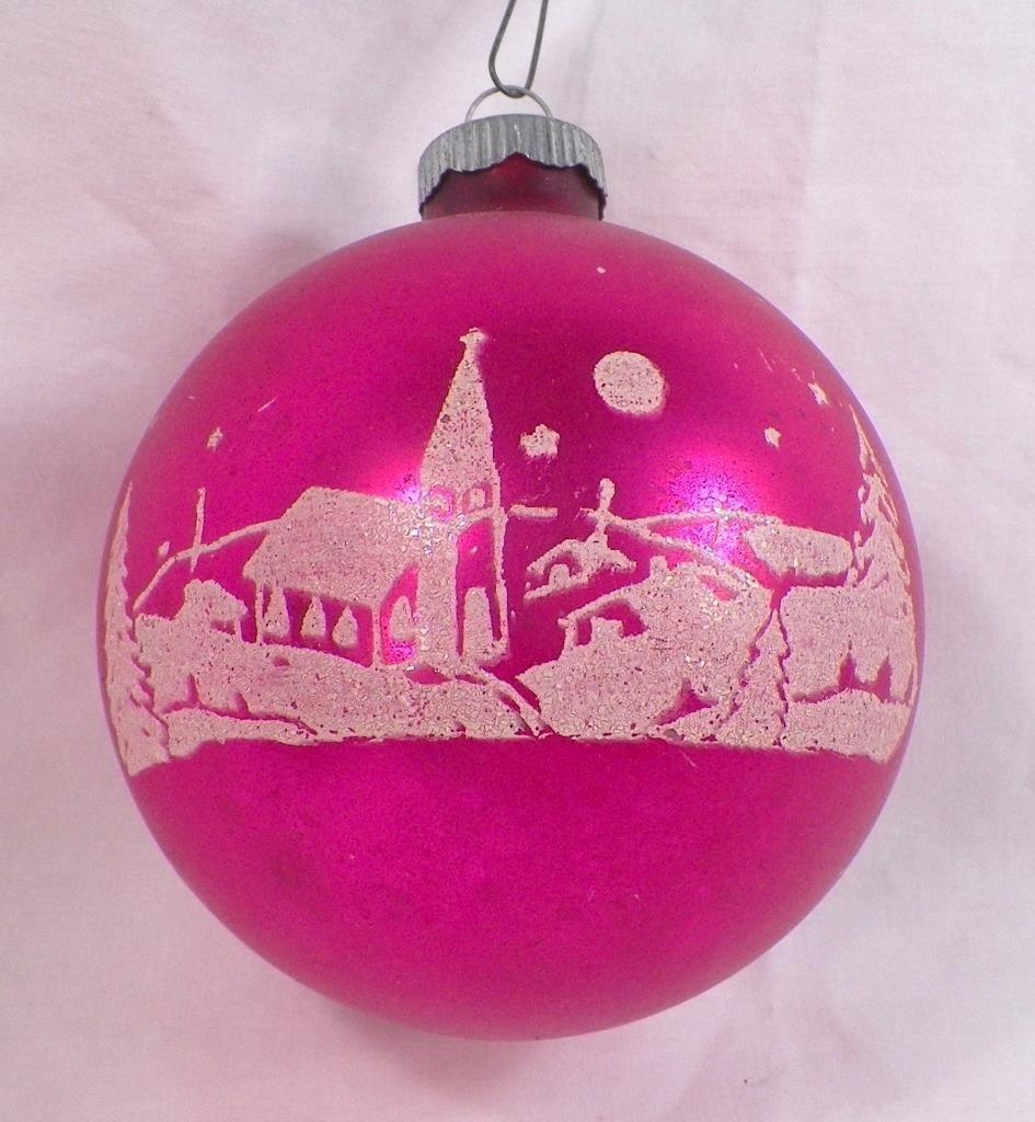 Christmas Ornament Ball Hot Pink Mercury Glass Winter Scene Church Vintage 285 Christmas Ornaments Vintage Christmas Toys Antique Christmas Ornaments