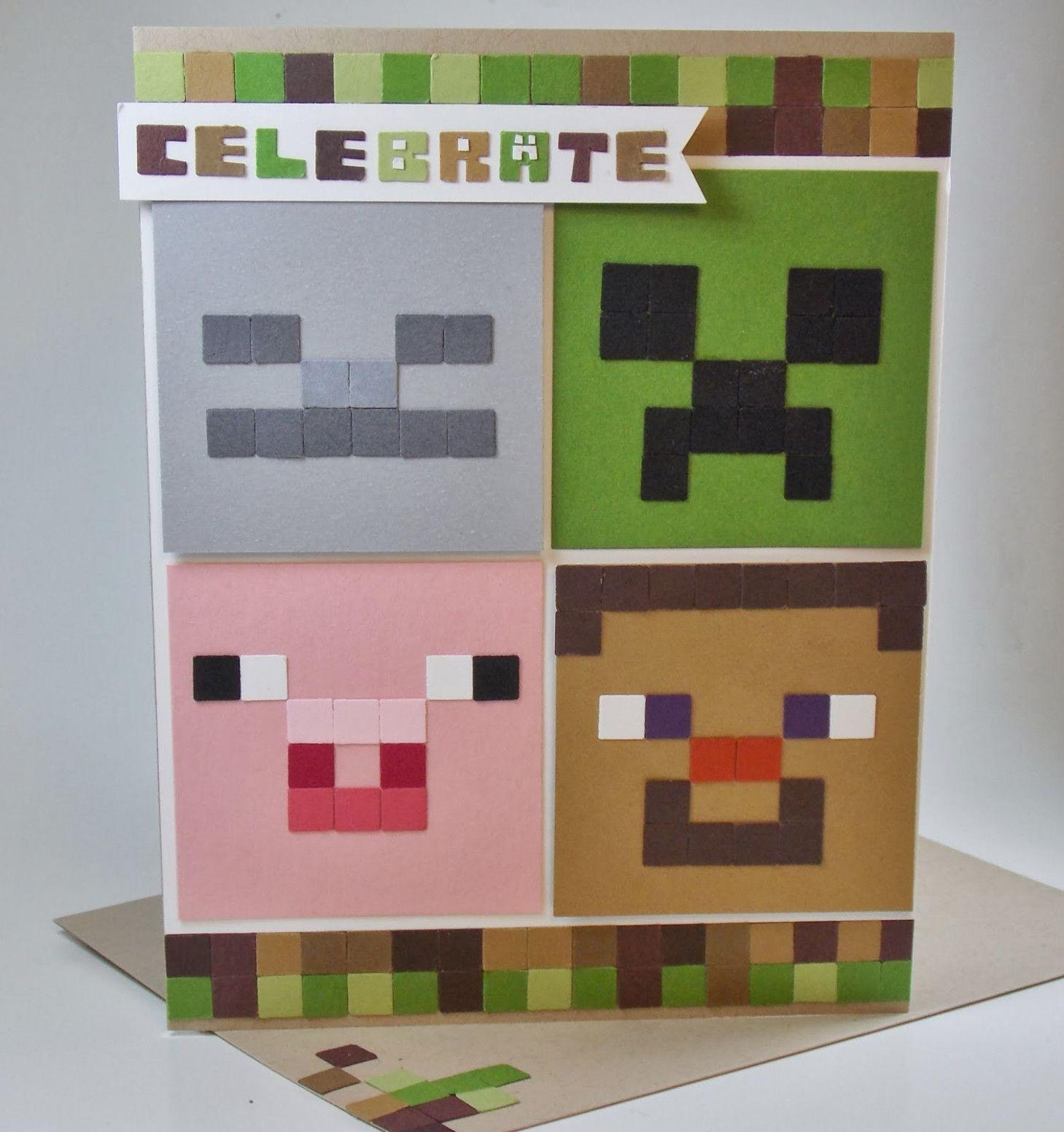 17 Ideas Minecraft Card Birthday Minecraft Birthday Card Birthday Cards For Boys Birthday Card Printable